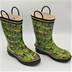 Western Chief Green Boots Yellow Tractors sz 13/1
